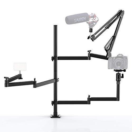 YouTube Studio - Equipo de escritorio de 3 brazos,2 kg de carga útil para edición de vídeo, transmisión en directo,YouTube,compatible con cámaras,iluminación fotográfica, micrófono y monitor de cámara
