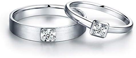 AnazoZ Anillos 1Par Anillos de Oro 18K para Mujer Hombre Anillos Redondo Simple Diamante Blanco 0.1ct Plata Talla Mujer 9,5 & Hombre 28