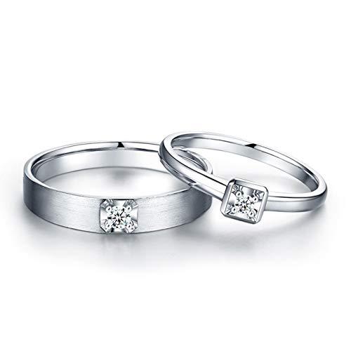 AnazoZ Anillos 1Par Anillos de Oro 18K para Mujer Hombre Anillos Redondo Simple Diamante Blanco 0.1ct Plata Talla Mujer 20 & Hombre 20