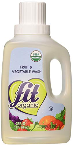 Fit Organic 32 Oz Soaker Produce Wash Fruit and Vegetable Wash and Pesticide/Wax Remover Pack of 3 Bottles