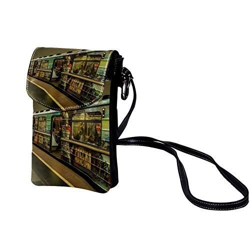 TIZORAX Retro Weinglas Bar Kleine Umhängetasche Handy Geldbörse Portemonnaie für Frauen Mädchen muster 4 19x12x2cm/7.5x4.7x0.8in
