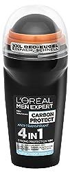 L'Oréal Men Expert Carbon Protect Deodorant, das 4in1 Anti-Transpirant Deo-Roller schützt gegen Achselnässe und Körpergeruch und begeistert durch seinen maskulinen Duft (6 x 50ml)