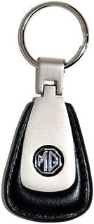 High-End Motorsports MG Leather Teardrop Key Chain Fob - Brushed Aluminum Finish