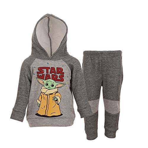 Star Wars The Mandalorian Baby Yoda Baby Boys Fleece Hoodie and Pants Set 12 Months Gray