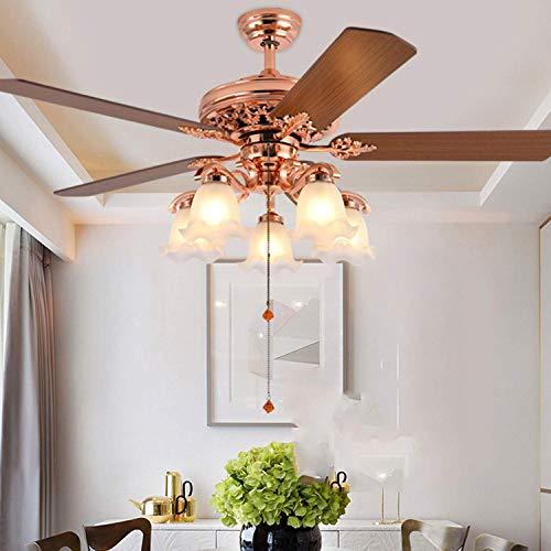 Ventilador de techo para vacaciones en la granja, ventilador de techo LED, 5 hojas, mando a distancia con cuchilla reversible, silencioso, para restaurante/salón/dormitorio 1yess