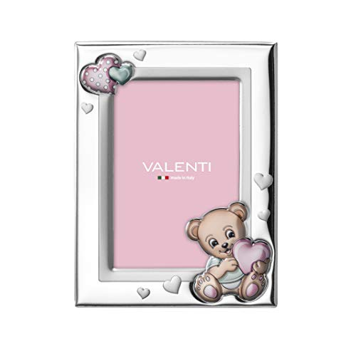 Valenti & Co - Cadre photo en argent avec ours en peluche détail de table de chevet pour la chambre de bébé parfait comme idée de cadeau de baptême ou d'anniversaire