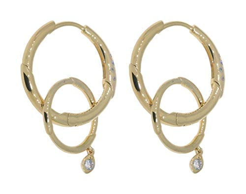 PANDORA Flower Stem 18k Gold Plated PANDORA Shine Collection Hoops Earrings - 267927CZ