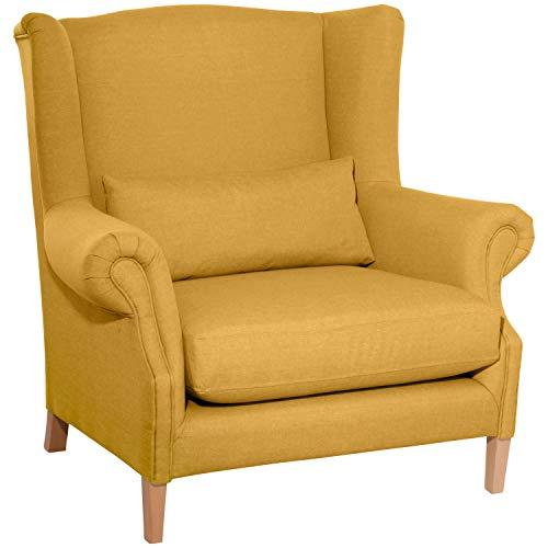 Max Winzer® Big-Sessel Harvey, gelb, Flachgewebe (Leinenoptik), XXL, Ohrenbacken, romantisch, Landhaus, 115 x 95 x 117 cm