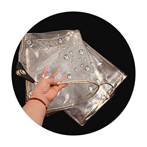 LH-RUG Plant Cover Transparent Tarpaulin Waterproof PVC Plastic Tarp With Eyelets, Flower Plant Sheet Covers Rainproof, 400g/m² (Color : Clear, Size : 2.6x2.6m)