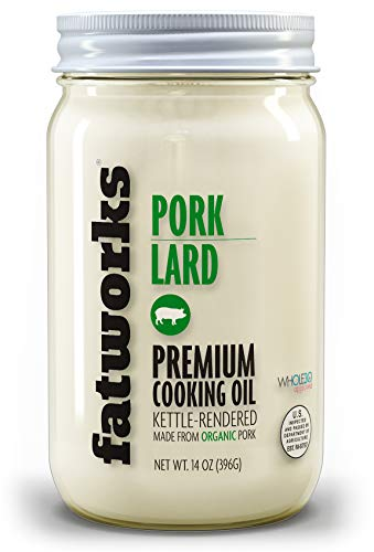 Fatworks, Organic Free Range Pork Lard, NON-GMO, 100% Certified USDA Organic Ingredients, Great for everyday cooking, baking and frying, WHOLE30, KETO, PALEO, 14 oz