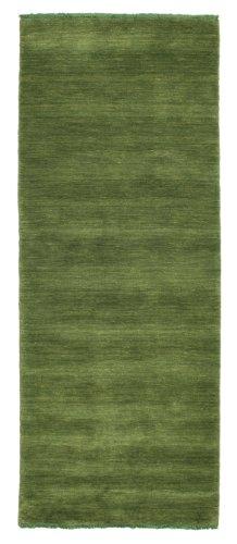 CarpetVista Teppich Handloom Fringes, Kurzflor, 80 x 200 cm, Läufer, Modern, Wolle, Flur, Schlafzimmer, Wohnzimmer, Dunkelgrün