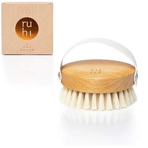 ruhi® Körperbürste WEICH [NEU] 100% Naturborsten gefertigt in DE plastikfrei zur Trockenbürsten Massage (dry brush) Lymphdrainage gegen Cellulite | regionales, FSC-zertifiziertes Buchenholz