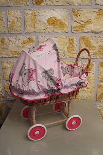 Marcus Puppenwagen aus Weide mit Kissen und Decke Überraschung Weidenwagen Kinderspielzeug