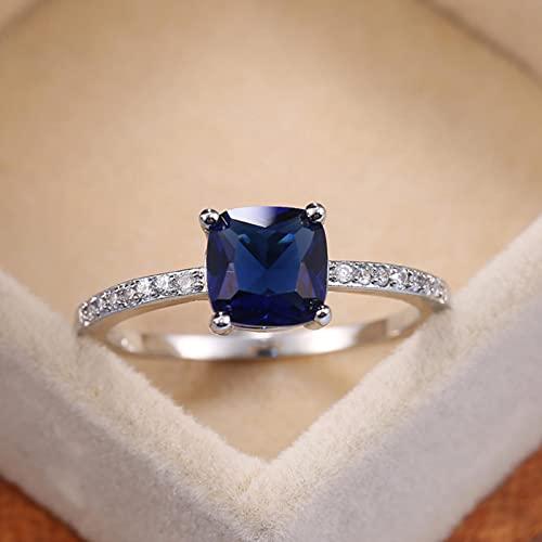 CXWK Anillos Cuadrados de Piedra de la Serie Azul para Mujer, Accesorios Minimalistas Simples, Anillo de Banda, Anillos de joyería de Compromiso Elegantes