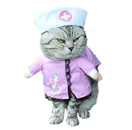 DELEY Animal de Compagnie Chien Chat Halloween Noël Cosplay Party Fancy Dress Costume Uniforme des Vêtements Infirmière S