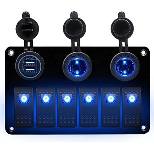 AIHOUSE 6 Gang ON/Off Toggle Rocker Switch Panel, 12V / 24V LED Interruptores Iluminados Dual USB Cargador Y Encendedor De Cigarrillos para Automóvil Marine RV Camión,Azul