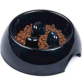 SUPER DESIGN Gobble-Stop Slow Feeder Dog Bowl Slow Eating Anti-Gulp BPA Free Melamine Bowl Fun Interactive Pet Bowl for Dogs Cats Puppies