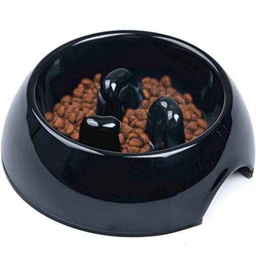 Super Design Anti-Gulping Dog Bowl Slow Feeder, Interactive Bloat Stop Pet Bowl for Fast Eaters 1.5 Cup Black