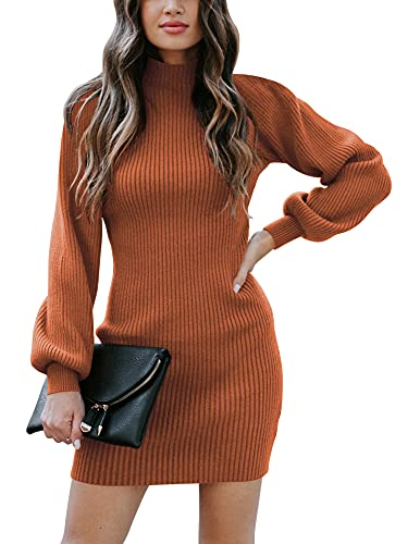 ANRABESS Women's Slim Fit Cable Knit Turtleneck Long Sleeve Sweater Dress A145xiuhong-S Rust