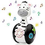 WolinTek Juguetes educativos tempranos,Juguetes Bebe ,Juguetes Musicales para Niños,Juguetes de Vaso Juguete de Sonido con Música y Luz,Máquina de Aprendizaje Regalo de Juguete (Cebra)