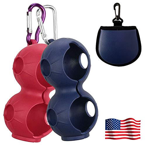 Amy Sport Golf Ball Holder Soft Silicone Clip 2 Pack with Cleaner Pouch Pocket Red Navy Blur Balls Sleeve Bag Aluminum Hook to Belt Bags for Men Women Kids (2 Pack in Red&Navy Blue)