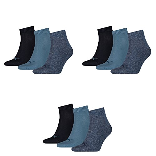 Puma 9 Paar Unisex Quarter Socken Sneaker Gr. 35-49 für Damen Herren Füßlinge, Socken & Strümpfe:43-46, Farbe:460 denim blue