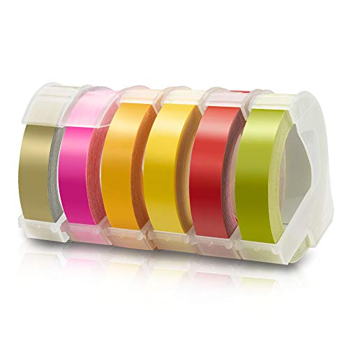 6X Labelwell 9mm x 3m Compatible Label Tape Replacement for Dymo 3D Embossing Plastic Self-Adhesive for Embossing Label Maker Dymo Junior S0717900, Omega S0717930, Dymo 1540, Motex E-101 E-202 E-303