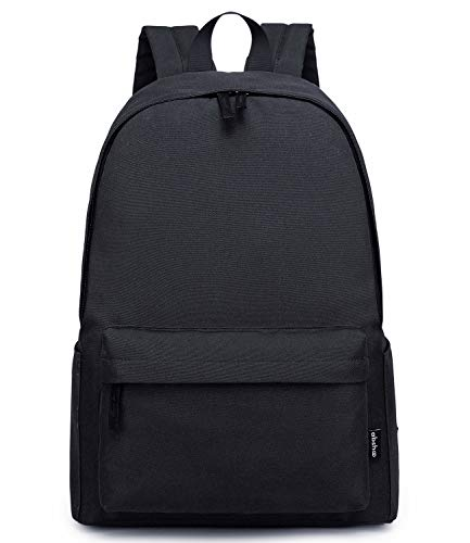 Abshoo Lightweight Casual Unisex Backpack for School Solid Color Boobags Black