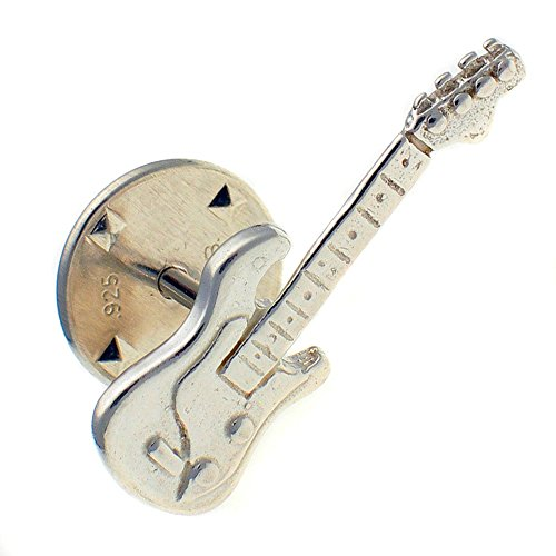 Welded Bliss Sterling 925 Silver Electric Guitar Lapel Pin, Stud Brooch WBC1584