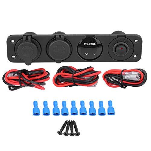 Cargador USB 12-24V LED Dual USB Rojo Verde Azul Cargador Voltímetro Encendedor de cigarros Toma de corriente Interruptor de panel de 4 orificios para vehículo 12V Motocicleta ATV Barco(rojo)