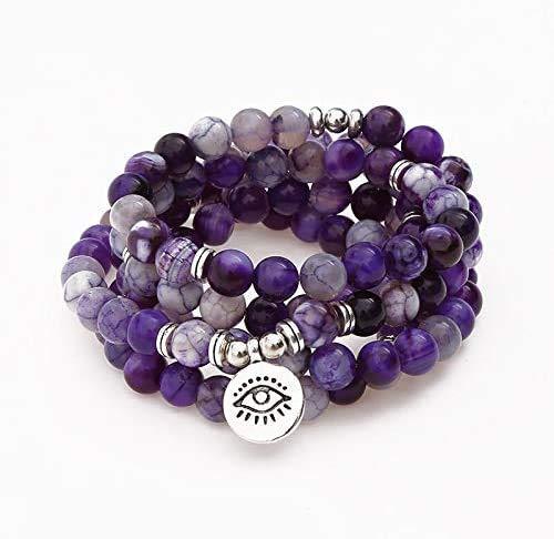 GIOAMH 108 cuentas de piedra natural pulsera o collar ojo Buda colgante Yoga oración Chakra pulsera para mujeres hombres joyería