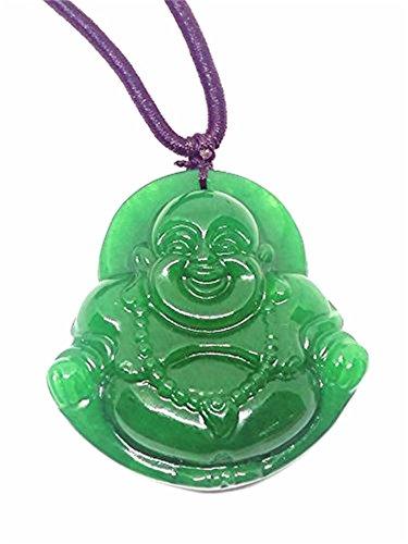 Collar con colgante de jade con diseño de buda reír