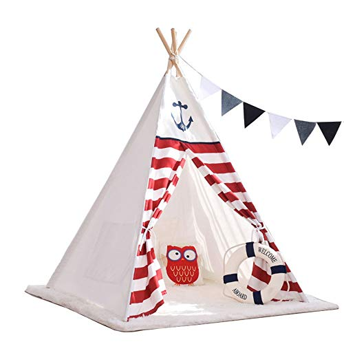 YLJB Kids Play Tent Kids Teepee Tent 100% Cotton Indoor & Outdoor Toddler Play-House For Children Toddler Indoor And Outdoor Games Children's Play House (Color : White, Size : 120x120x160cm)