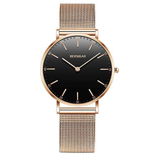 BERSIGAR Reloj De con Cristal De Cuarzo - Reloj Impermeable - Reloj Clásico con De - Reloj Analógico