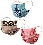 Prüfstein Indian Heritage Stoff aus Bengalen doppelten Schicht Baumwollgesichtsmaske wiederverwendbar waschbar für Männer, Frauen. (Packung mit 3). Rosa-Grau-Blau