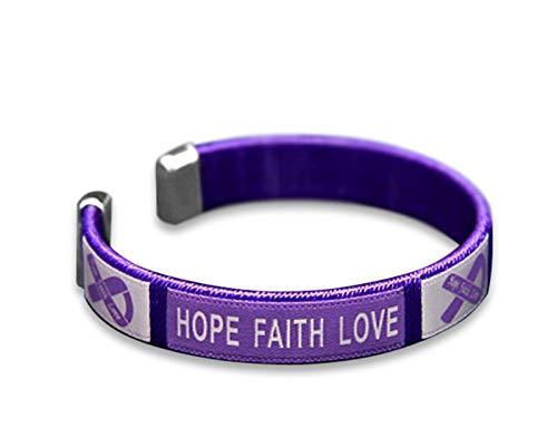 Fundraising For A Cause | Alzheimer's'Hope' Bangle Bracelet - Purple Ribbon Bracelet for Alzheimer's Awareness Gift-Giving & Awareness Events (1 Bracelet)