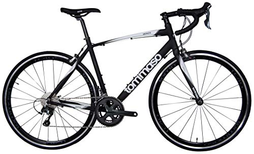 Tommaso Monza Endurance Aluminum Road Bike, Carbon Fork, Shimano Tiagra, 20 Speeds, Aero Wheels - Matte Black - Extra Small