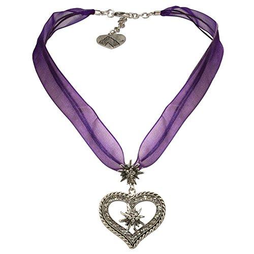 Alpenflüstern Organza-Trachtenkette Strass-Edelweiß-Herz - Damen-Trachtenschmuck mit Trachtenherz, Dirndlkette lila-violett DHK193