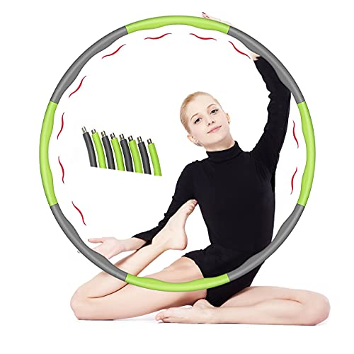 FLOWERSHAVE Hula Hoop Reifen Erwachsene, Hula Hoop mit Stabiler Edelstahlkern, 8 Segmente Abnehmbarer Hula Fitness Reifen Geeignet für Fitness/Training/Bauchmuskelkonturen