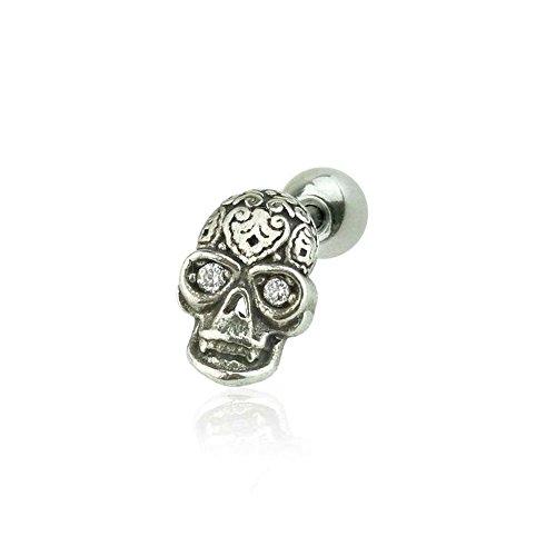 BlackAmazement Piercing in argento Sterling 925 per trago, helix, a forma di croce, con zirconi, da uomo e donna e Argento, colore: argento, cod. -