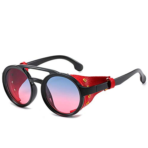 Gafas de sol para hombres y mujeres Gafas redondas europeas y americanas Gafas de sol personalizadas-Montura negra, cuero rojo, azul y rosa