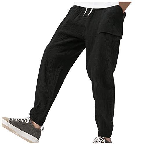 Ginli Pantaloni di Lino Uomo Baggy Casual Pantalone Pinocchietti con Tasconi Oversize Tinta Unita Bianco Nero Rosso Blu Scuro M-3XL