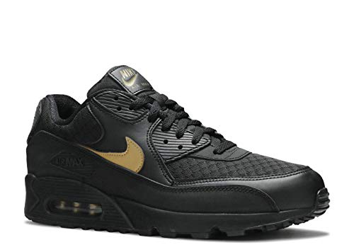 Nike Mens Air Max 90 Lifestyle Shoes, Black/Metallic Gold, Size 10.5