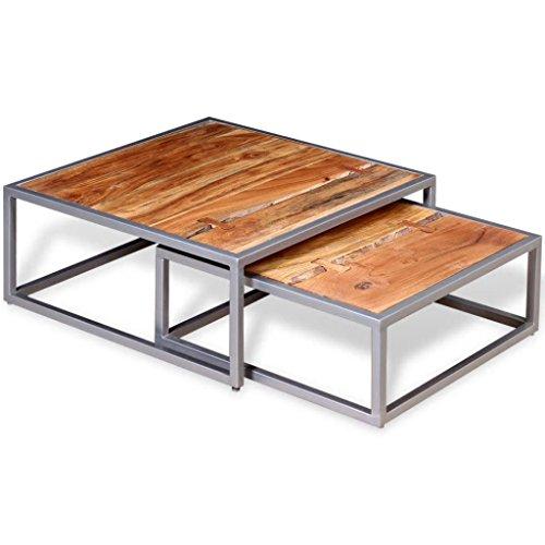 Ensemble de Table Basse 2 pièces Dimensions (grande table) 65 x 65 x 26 cm (L x l x H) en Bois d'acacia massif table basse design utilisée comme table auxiliaire, table d'appoint et table de salon