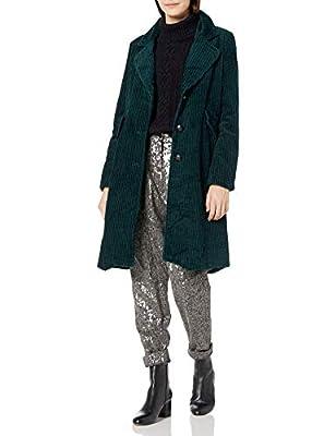 Steve Madden Women's Fashion Coat, Corduroy Deep Green, L