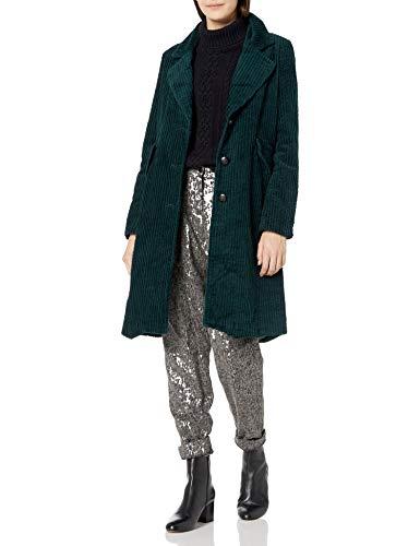 Steve Madden Damen Fashion Coat Daunenalternative, Mantel, Kord, Dunkelgrün, Large