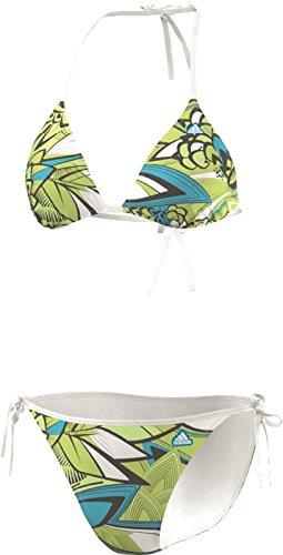 adidas Bikini Triangle Graphic White Sharp Grey Samba Blue Gr. 32 F50361