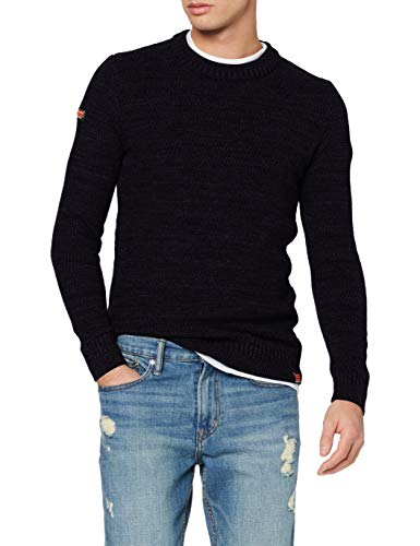 Superdry Keystone Crew Sweat à Capuche de Skateboard, Downhill Navy Twist, M Homme