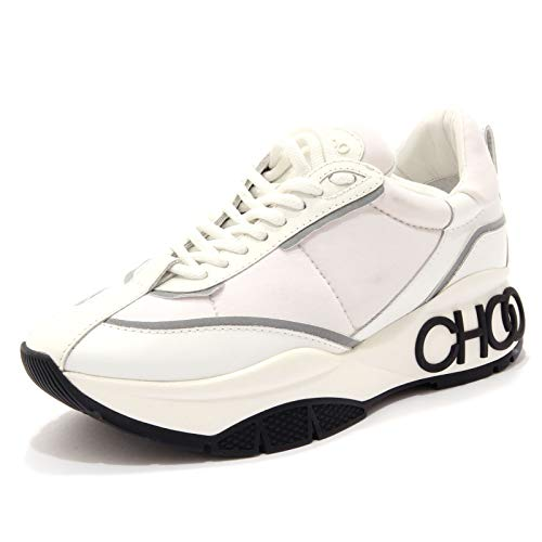 JIMMY CHOO 2388AD Sneakers Donna White Leather/Scuba Fabric Shoes Woman [36.5]