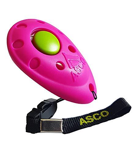 ASCO Premium Clicker pour Dressage de Chien, cliquet Professionnel pour Chiens, Chats, Chevaux ; cliquet pour Dressage de Chien, Rose AC08P